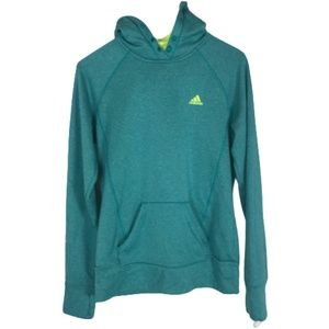 Adidas Ultimate Hoodie Teal Neon Yellow Size Small